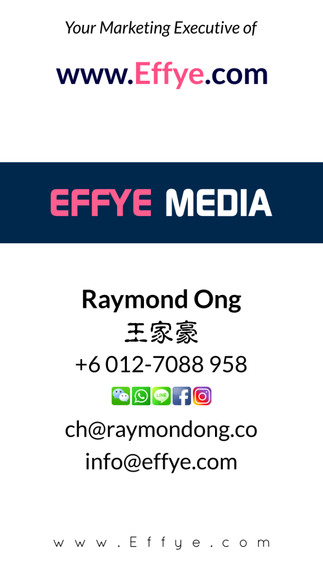 Effye Media Online Marketing Executive and Customer Services Raymond Ong Online Advertising Website Design Development Online Shopping Management Education Photographer A03