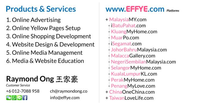 Raymond Ong Effye Media Perak Website Design Online Media Advertising Web Development Education Webpage Facebook eCommerce Management Photo Shooting Malaysia NC02