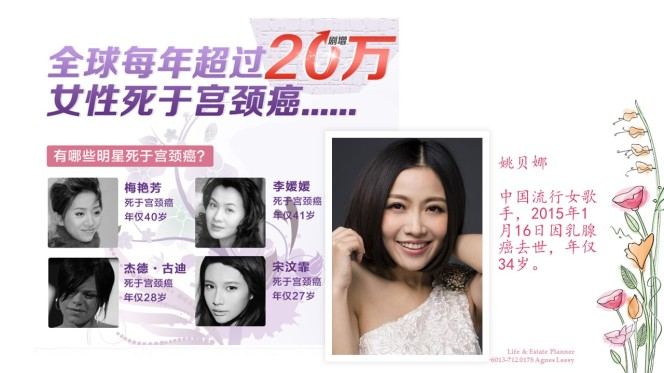 AGNES LEESY AIA LADY INCOME REPLACEMENT 职业女性收入替代 CANCER 子宫癌 女性疾病