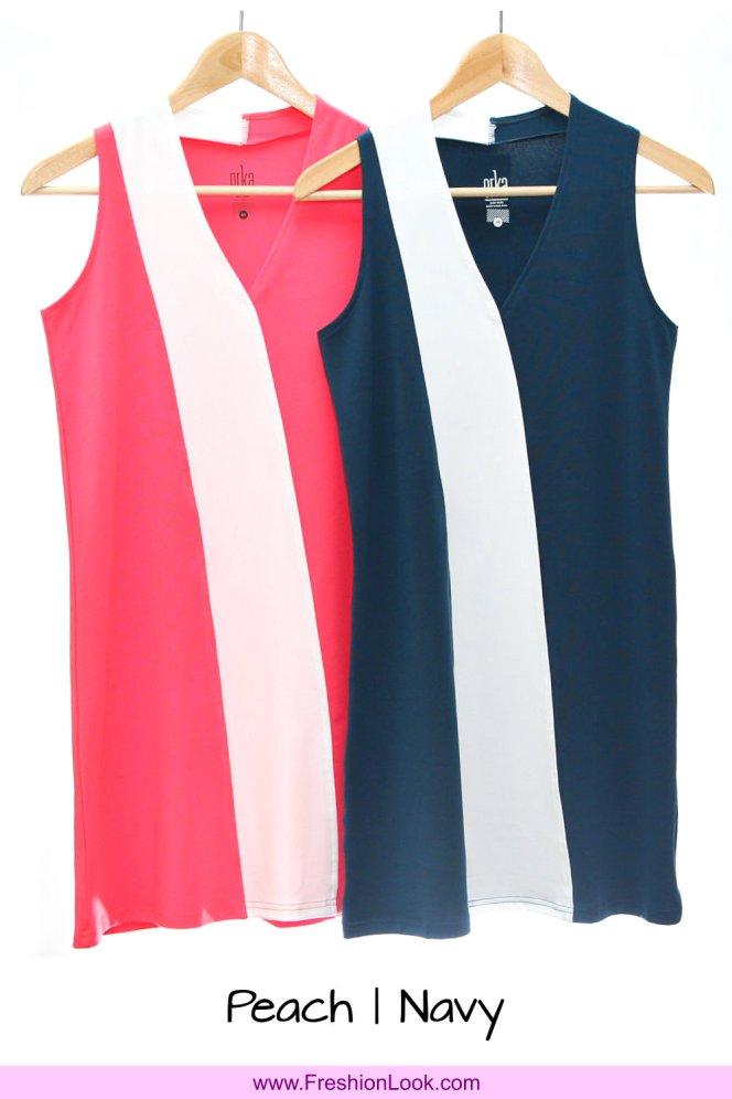 A01 Fashion Wear Women Panelled Office Dress Peach Navy Colour D0105 FreshionLook Fresh Fashion Fresh Look Freshion Look Boutique Clothing Online Sales 好看美丽时尚衣服服装