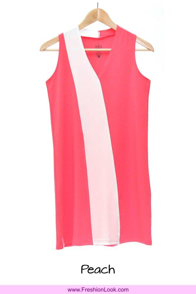 A02 Fashion Wear Women Panelled Office Dress Peach Navy Colour D0105 FreshionLook Fresh Fashion Fresh Look Freshion Look Boutique Clothing Online Sales 好看美丽时尚衣服服装