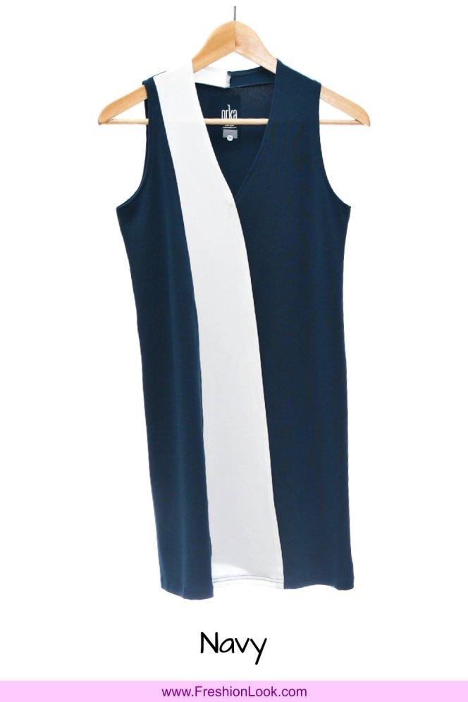 A03 Fashion Wear Women Panelled Office Dress Peach Navy Colour D0105 FreshionLook Fresh Fashion Fresh Look Freshion Look Boutique Clothing Online Sales 好看美丽时尚衣服服装