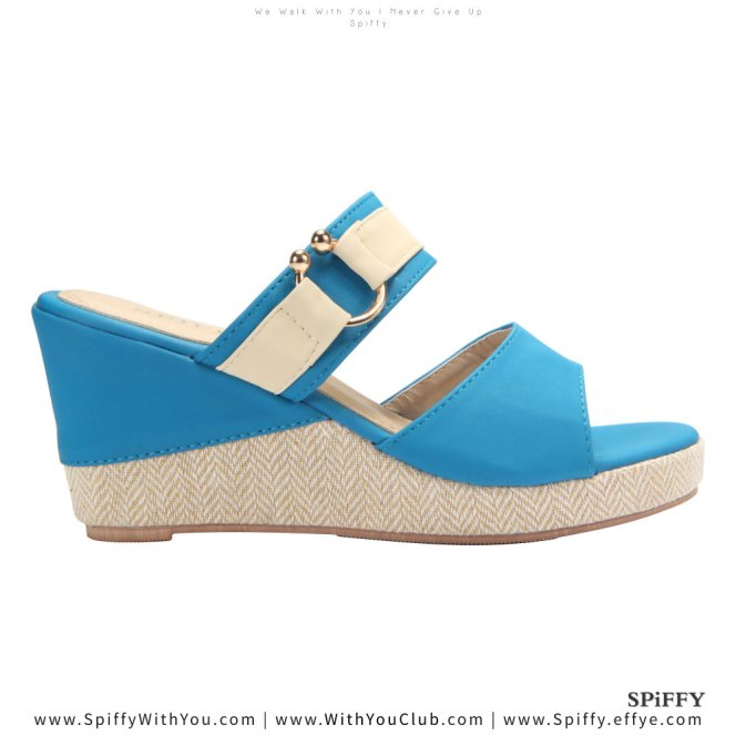Fashion Modern Malaysia Wedges Shoes 舒适松糕鞋 Spiffy Brand CT3519003 Blue Colour Shoe Ladies Lady Leather High Heels Wedges Shoes Online Shopping 11Street Lazada 01