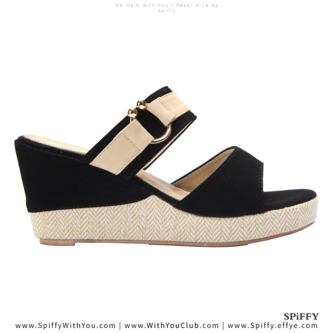Fashion Modern Malaysia Wedges Shoes 舒适松糕鞋 Spiffy Brand CT3519010 Black Colour Shoe Ladies Lady Leather High Heels Wedges Shoes Online Shopping 11Street Lazada 01