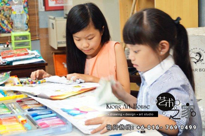 马来西亚 柔佛 峇株吧辖 美术课程 艺术画室 儿童绘画 彩图 水彩画 木笔画 蜡笔画 素描 油画 广告画 壁画 板画 布画 漫画 Kiong Art 艺术之家美术画室