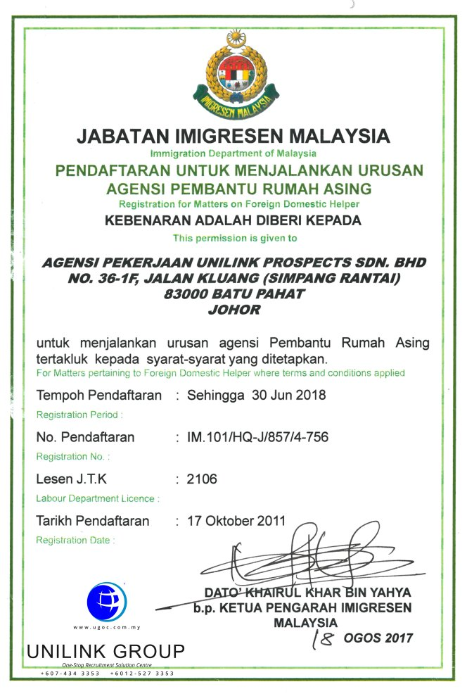 Company Profile of Agensi Pekerjaan Unilink Prospects Sdn Bhd Director Datin Sri Fun See Hoon Datin Sri Ivy Malaysia One-Stop Recruitment Solution Centre A15-01