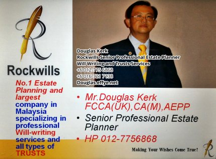 Douglas Kerk Rockwills Senior Professional Estate Planner - Will Writing and Trusts Services Batu Pahat and Kluang Johor Malaysia Property Management PA07