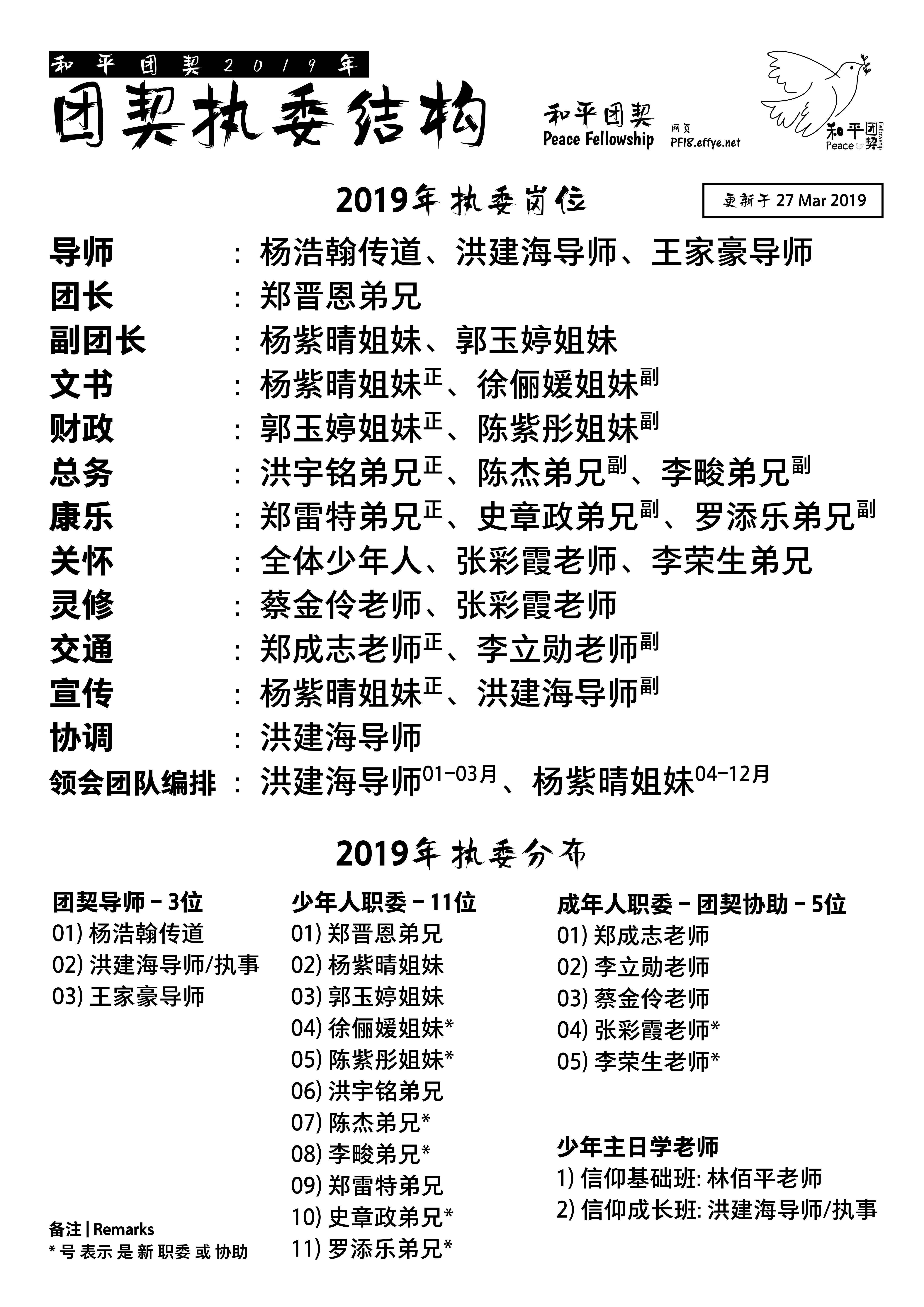 A00 和平团契 2019年 执委 结构-update 27 March