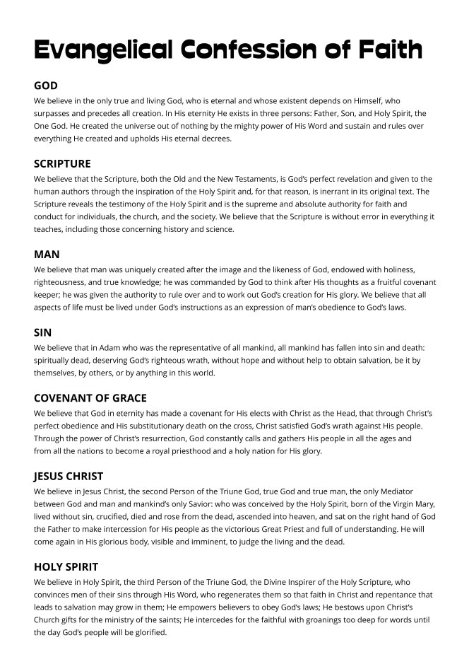 Evangelical Confession of Faith and Confession of Evangelism Page 01 - 5000px