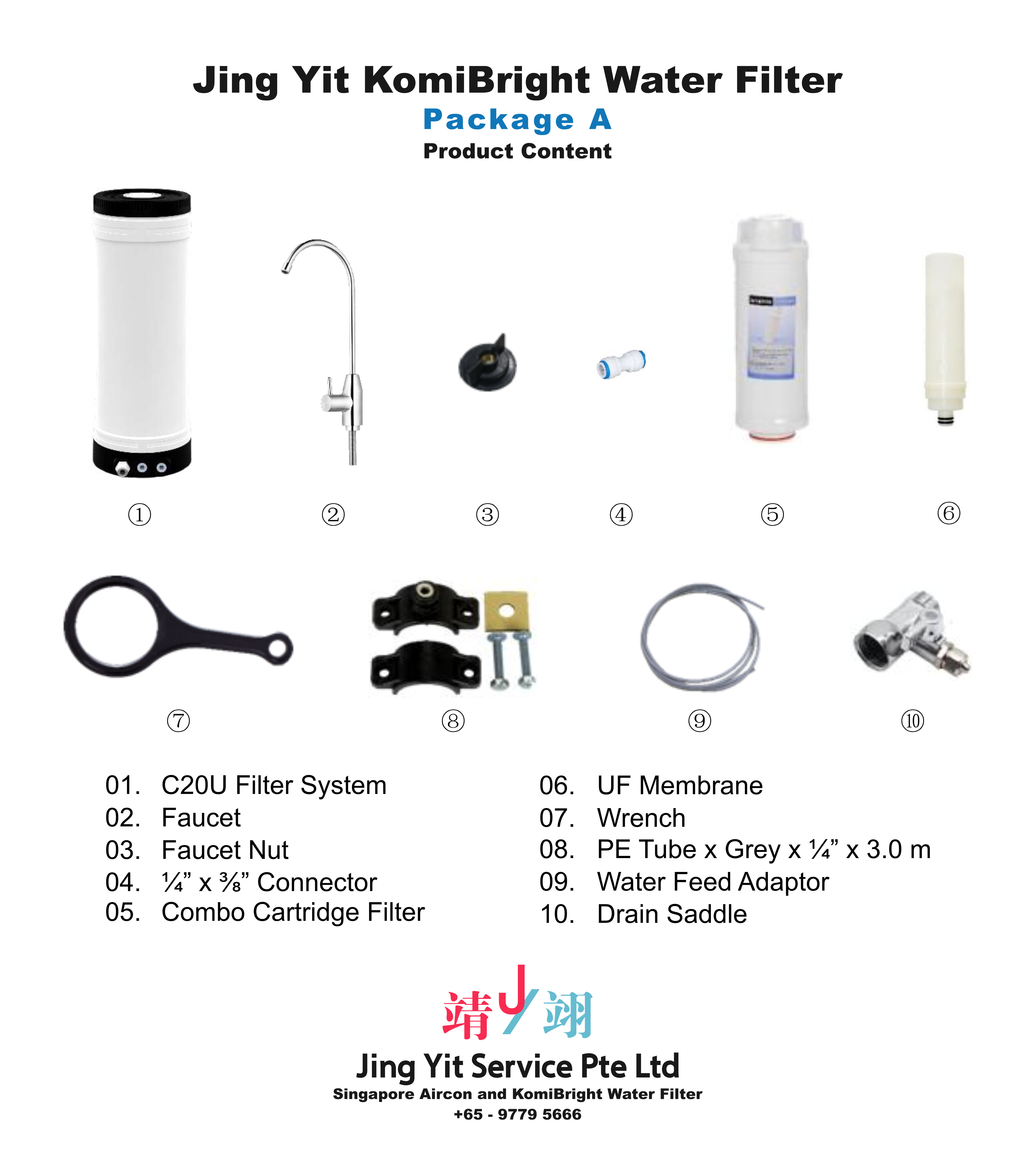 Jing Yit KomiBright Water Filter Singapore Reverse Osmosis Water Purifier Singapore Water Filter Malaysia Komi Bright Water Filter Package A A02