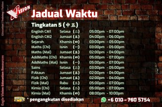 Jadual Waktu Tuition Kota Tinggi 2020 Eagle Vision Education Resources Subject Yang Diajar Sejarah Sains Maths AddMaths Fizik Kimia IGCSE Education Kota Tinggi Training A05